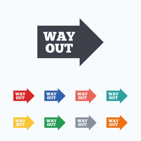way out: Way out right sign icon. Arrow symbol. Colored flat icons on white background.