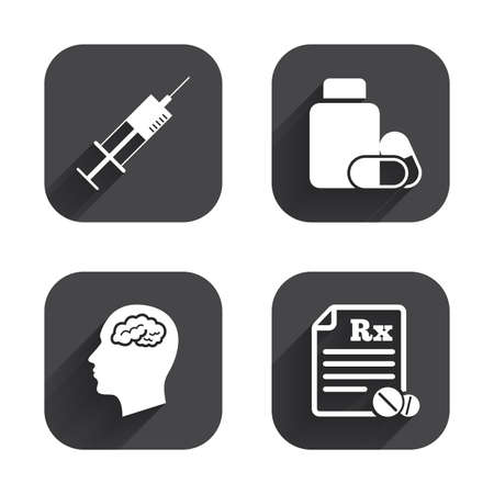 rx: Medicine icons. Medical tablets bottle, head with brain, prescription Rx and syringe signs. Pharmacy or medicine symbol. Square flat buttons with long shadow.