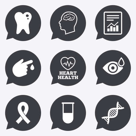 neurology: Medicine, medical health and diagnosis icons. Blood test, dna and neurology signs. Tooth, report symbols. Flat icons in speech bubble pointers. Illustration