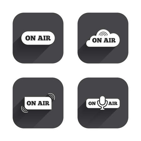 live on air: On air icons. Live stream signs. Microphone symbol. Square flat buttons with long shadow.