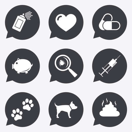 Veterinary, pets icons. Dog paws, syringe and magnifier signs. Pills, heart and feces symbols. Flat icons in speech bubble pointers.