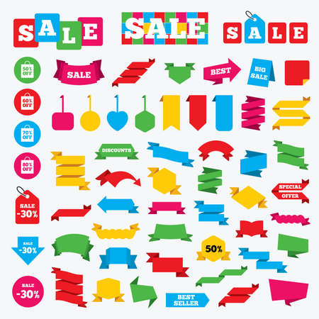 50 to 60: Web stickers, banners and labels. Sale bag tag icons. Discount special offer symbols. 50%, 60%, 70% and 80% percent off signs. Price tags set.