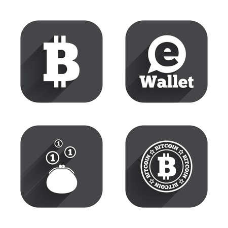 p2p: Bitcoin icons. Electronic wallet sign. Cash money symbol. Square flat buttons with long shadow.