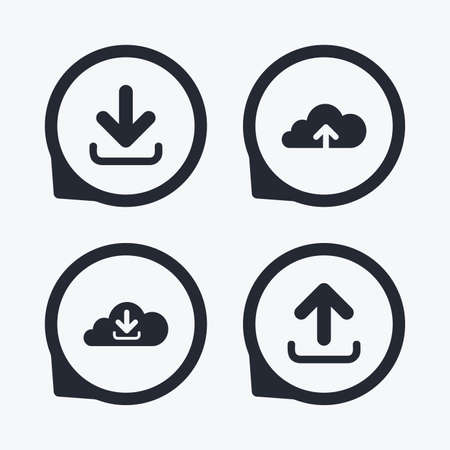 receive: Download now icon. Upload from cloud symbols. Receive data from a remote storage signs. Flat icon pointers.