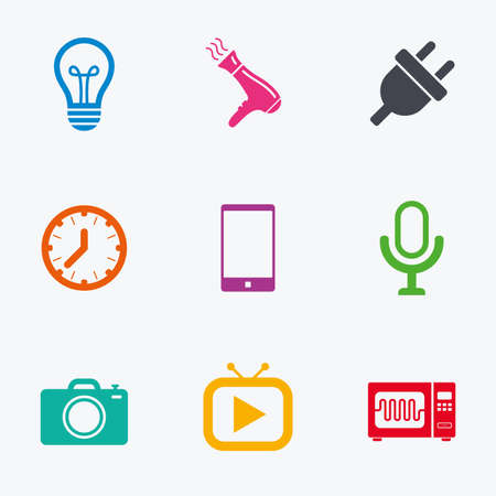 Home appliances, device icons. Electronics signs. Lamp, electrical plug and photo camera symbols. Flat colored graphic icons. Illustration