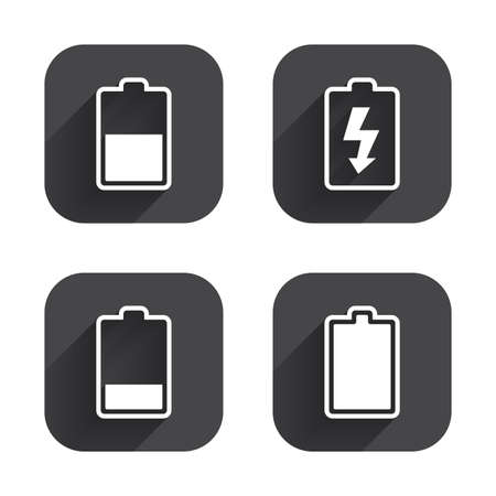 stored: Battery charging icons. Electricity signs symbols. Charge levels: full, half and low. Square flat buttons with long shadow. Illustration