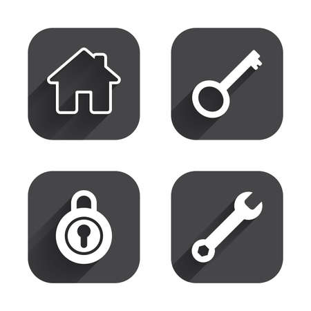Home key icon. Wrench service tool symbol. Locker sign. Main page web navigation. Square flat buttons with long shadow.
