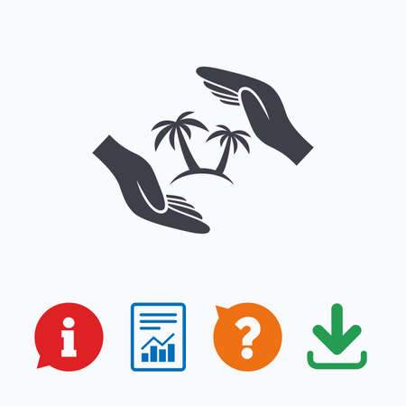 think safety: Travel insurance sign icon. Hands protect cover palm tree symbol. Trip vacation insurance. Information think bubble, question mark, download and report.
