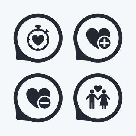 sex positions: Valentine day love icons. Love heart timer symbol. Couple lovers sign. Add new love relationship. Flat icon pointers. Illustration