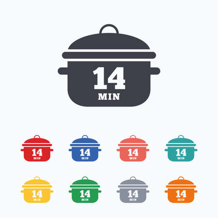 casserole: Boil 14 minutes. Cooking pan sign icon. Stew food symbol. Colored flat icons on white background. Illustration