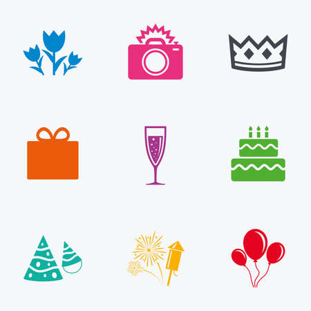 champagne celebration: Party celebration, birthday icons. Fireworks, air balloon and champagne glass signs. Gift box, flowers and photo camera symbols. Flat colored graphic icons. Illustration