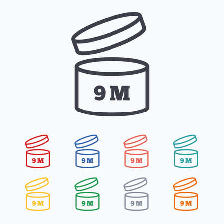 9 months: After opening use 9 months sign icon. Expiration date. Colored flat icons on white background.