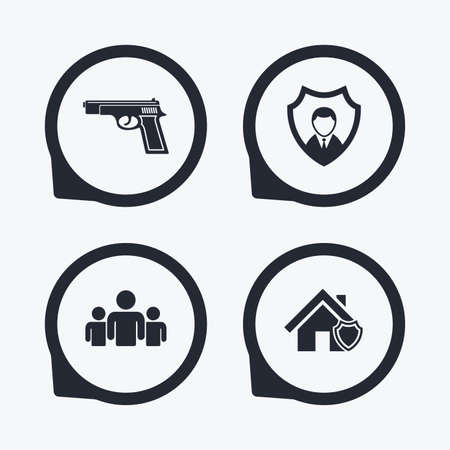 home group: Security agency icons. Home shield protection symbols. Gun weapon sign. Group of people or Share. Flat icon pointers. Illustration