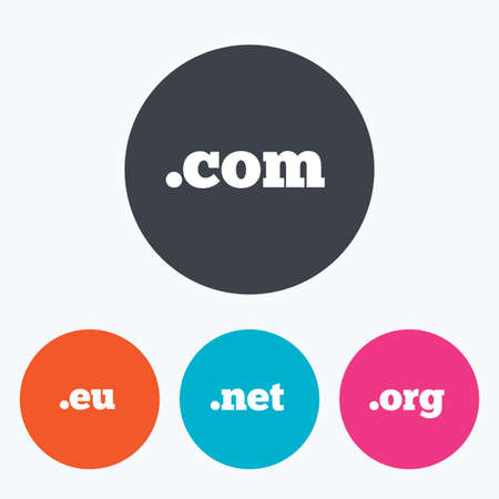 dns: Top-level internet domain icons. Com, Eu, Net and Org symbols. Unique DNS names. Circle flat buttons with icon.
