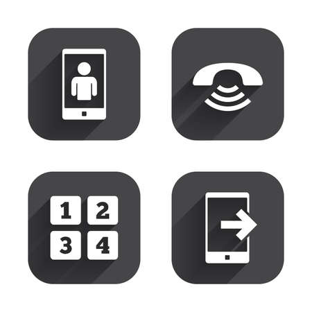 video call: Phone icons. Smartphone video call sign. Call center support symbol. Cellphone keyboard symbol. Square flat buttons with long shadow.