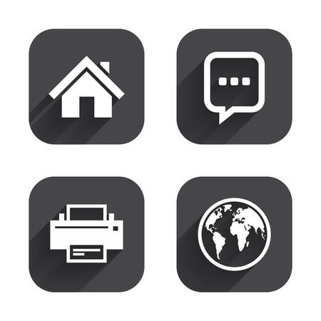 page long: Home main page and globe icons. Printer and chat speech bubble with suspension points sign symbols. Square flat buttons with long shadow. Illustration