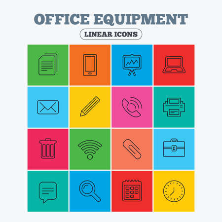 Office equipment icons. Computer, printer and smartphone. Wi-fi, chat speech bubble and copy documents. Presentation board, paperclip with pencil and magnifying glass. Linear icons in colored squares.