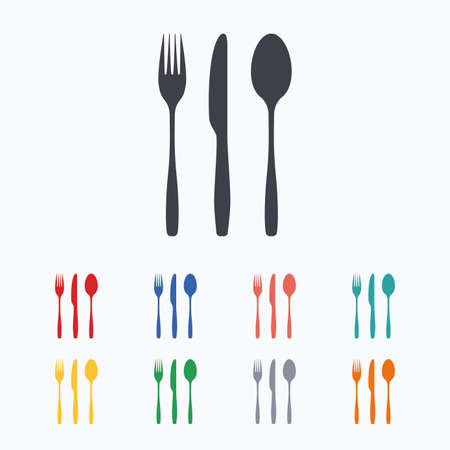 Fork, knife, tablespoon sign icon. Cutlery collection set symbol. Colored flat icons on white background. Illustration