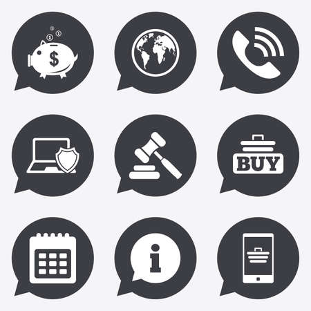 bank cart: Online shopping, e-commerce and business icons. Auction, phone call and information signs. Piggy bank, calendar and smartphone symbols. Flat icons in speech bubble pointers. Illustration