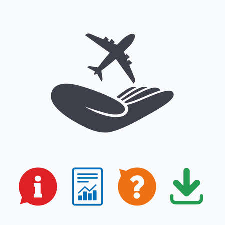 Flight trip insurance sign. Hand holds plane symbol. Travel insurance. Information think bubble, question mark, download and report.