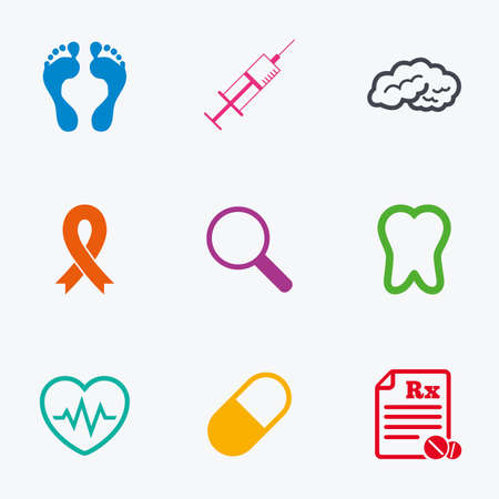 cancer foot: Medicine, medical health and diagnosis icons. Syringe injection, heartbeat and pills signs. Tooth, neurology symbols. Flat colored graphic icons.