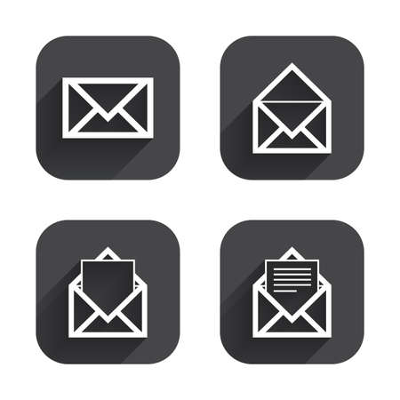 webmail: Mail envelope icons. Message document symbols. Post office letter signs. Square flat buttons with long shadow. Illustration