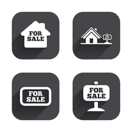 house for sale: For sale icons. Real estate selling signs. Home house symbol. Square flat buttons with long shadow.
