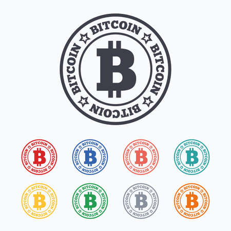 p2p: Bitcoin sign icon. Cryptography currency symbol. P2P. Colored flat icons on white background. Illustration