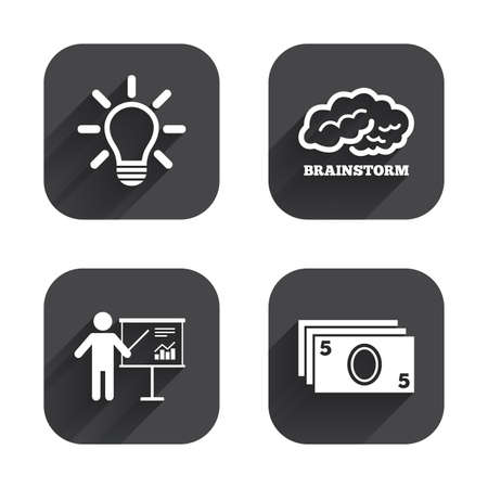 brainstorm: Presentation billboard, brainstorm icons. Cash money and lamp idea signs. Man standing with pointer. Scheme and Diagram symbol. Square flat buttons with long shadow.