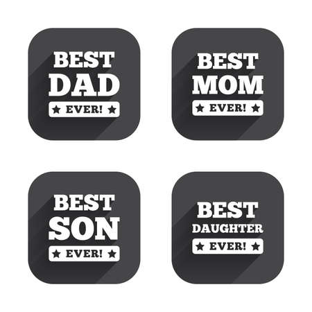dad son: Best mom and dad, son and daughter icons. Awards with exclamation mark symbols. Square flat buttons with long shadow.