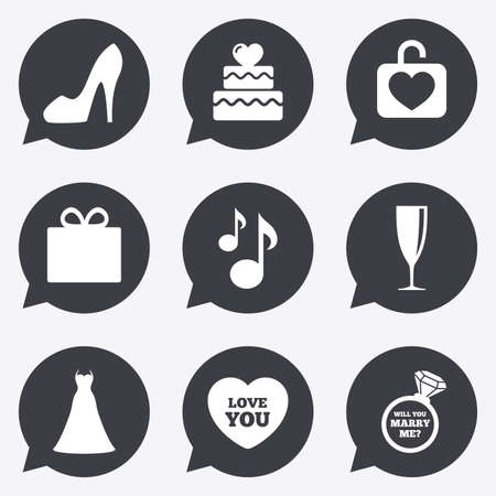 brilliant heart: Wedding, engagement icons. Cake with heart, gift box and brilliant signs. Dress, shoes and musical notes symbols. Flat icons in speech bubble pointers. Illustration