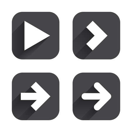 arrow icons: Arrow icons. Next navigation arrowhead signs. Direction symbols. Square flat buttons with long shadow.