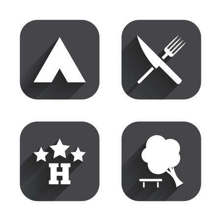 break down: Food, hotel, camping tent and tree icons. Knife and fork. Break down tree. Road signs. Square flat buttons with long shadow.