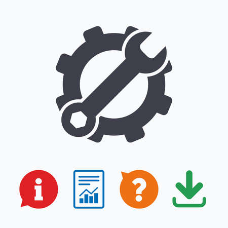 hardware configuration: Service icon. Wrench key with cogwheel gear sign. Information think bubble, question mark, download and report.