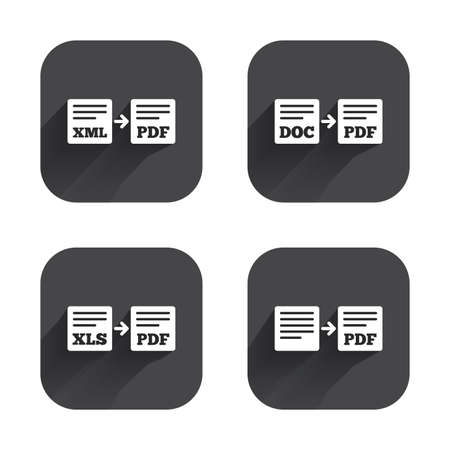 Export file icons. Convert DOC to PDF, XML to PDF symbols. XLS to PDF with arrow sign. Square flat buttons with long shadow.