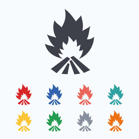 fire escape: Fire flame sign icon. Heat symbol. Stop fire. Escape from fire. Colored flat icons on white background. Illustration