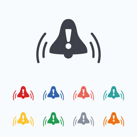 Alarm bell with exclamation mark sign icon. Wake up alarm symbol. Colored flat icons on white background.