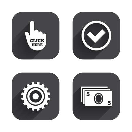 withdrawal: ATM cash machine withdrawal icons. Click here, check PIN number, processing and cash withdrawal symbols. Square flat buttons with long shadow. Illustration
