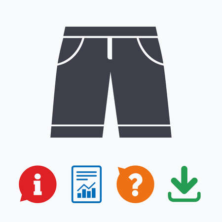 beachwear: Mens Bermuda shorts sign icon. Clothing symbol. Information think bubble, question mark, download and report. Illustration