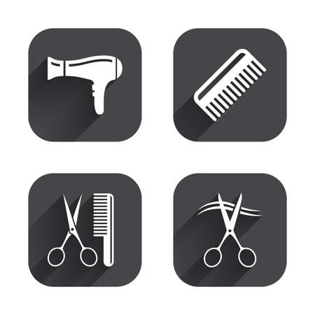 hairstyling: Hairdresser icons. Scissors cut hair symbol. Comb hair with hairdryer sign. Square flat buttons with long shadow.