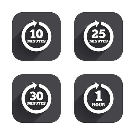 every: Every 10, 25, 30 minutes and 1 hour icons. Full rotation arrow symbols. Iterative process signs. Square flat buttons with long shadow. Illustration