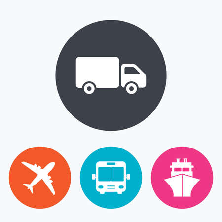 shipping by air: Transport icons. Truck, Airplane, Public bus and Ship signs. Shipping delivery symbol. Air mail delivery sign. Circle flat buttons with icon.