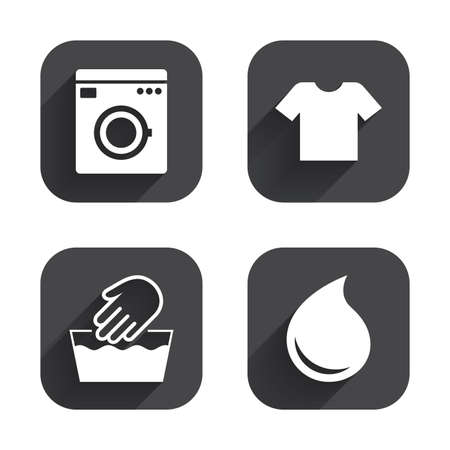 washhouse: Wash machine icon. Hand wash. T-shirt clothes symbol. Laundry washhouse and water drop signs. Not machine washable. Square flat buttons with long shadow.