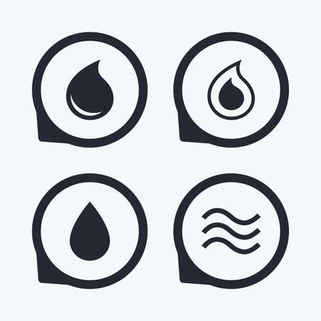 tear drop: Water drop icons. Tear or Oil drop symbols. Flat icon pointers.