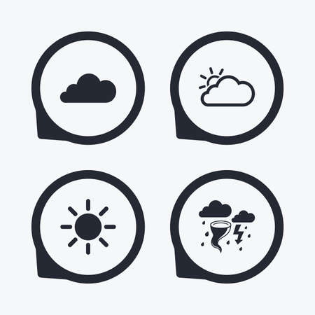 storm cloud: Weather icons. Cloud and sun signs. Storm or thunderstorm with lightning symbol. Gale hurricane. Flat icon pointers. Illustration