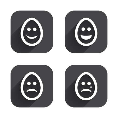 pasch: Eggs happy and sad faces icons. Crying smiley with tear symbols. Tradition Easter Pasch signs. Square flat buttons with long shadow.