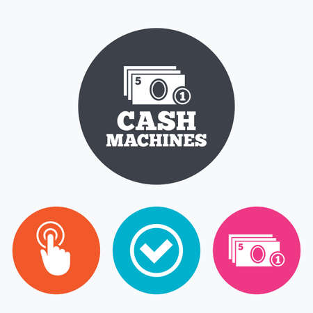 withdrawal: ATM cash machine withdrawal icons. Click here, check PIN number, processing and cash withdrawal symbols. Circle flat buttons with icon.