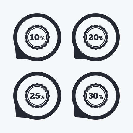thirty percent off: Sale discount icons. Special offer stamp price signs. 10, 20, 25 and 30 percent off reduction symbols. Flat icon pointers.