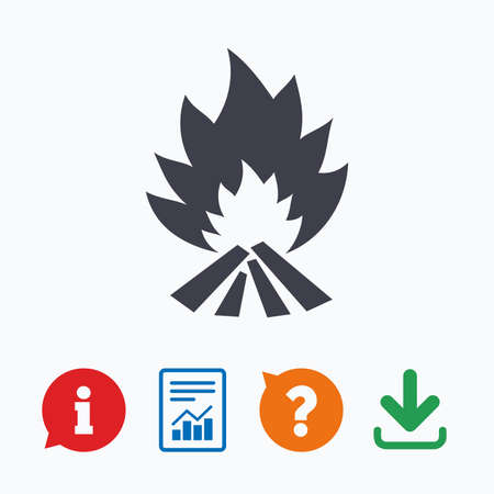 fire escape: Fire flame sign icon. Heat symbol. Stop fire. Escape from fire. Information think bubble, question mark, download and report.