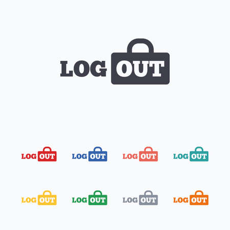 sign out: Logout sign icon. Sign out symbol. Lock icon. Colored flat icons on white background.